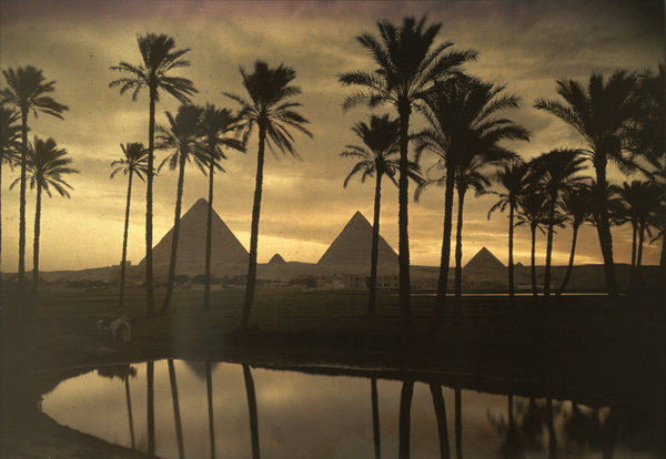 The three Pyramids of Giza are reflected in a pool of water, September 1926.Photograph by Jules Gervais Courtellemont, National Geographic #egypt #pyramids #nat #nature #photography #vintage #film #geo #giza