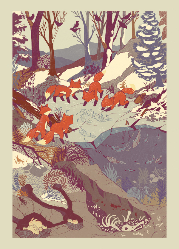 { teaganwhite } design & illustration #foxes #fish #design #snow #illustration #nature #art #cute #ice #river #cubs