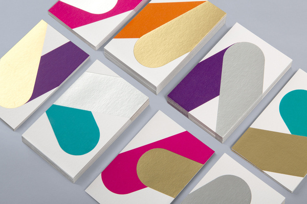 Business cards with metallic ink detail for print production studio Cerovski designed by Bunch #print