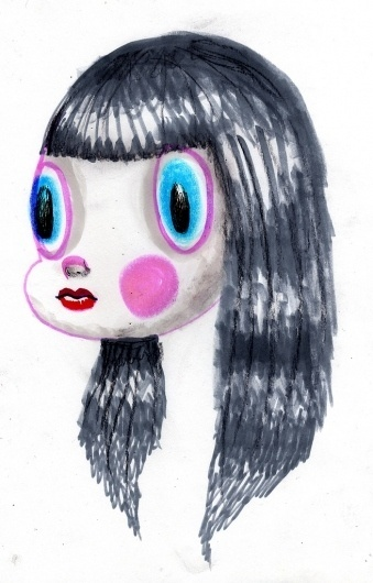 All sizes | Girl with Big Eyes and Black Hair | Flickr - Photo Sharing! #girl #pink #head #hair #dain #daincomix #blue