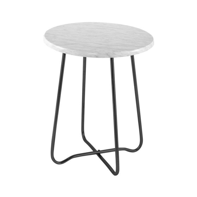 Jessica Marble Side Table Black 47cmH x 39cmD