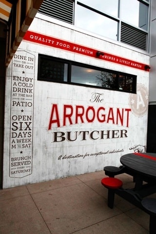 FFFFOUND! #typography #branding #identity #red #restaurant #butcher #hand paint #wall mural
