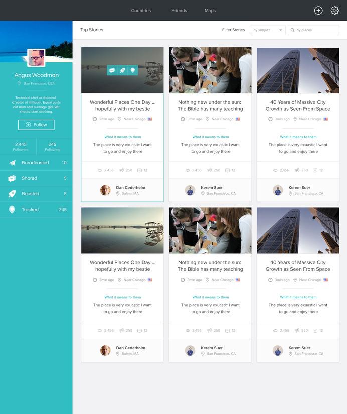 web, UI, stories, profile