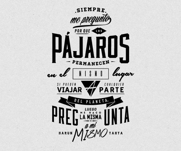 Postcard from La Papelera de Reciclaje by Overloaded Design #fonts #lettering #reciclaje #argentina #bird #pajaros #overloaded #type #papelera #typography