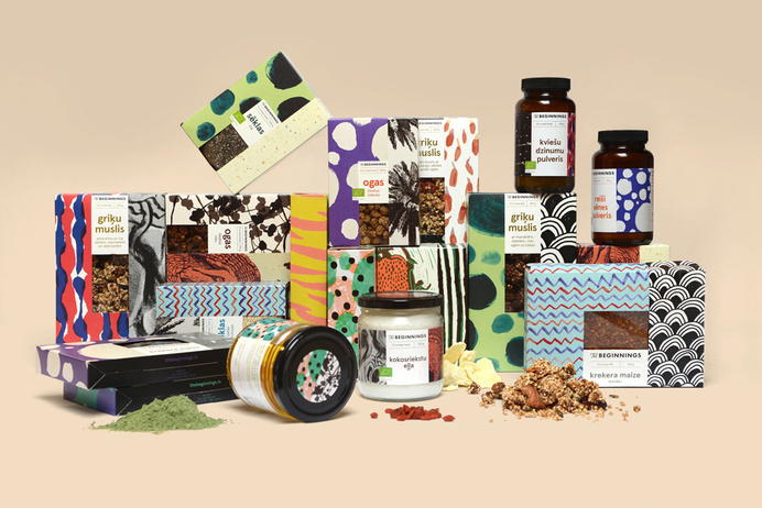 Logo, brand identity and illustrative packaging by Asketic for raw food and ingredients business The Beginnings. #packaging #patterns