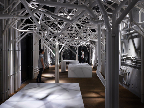 Nature Factory / Suppose Design Office #store #white #pipe #tree