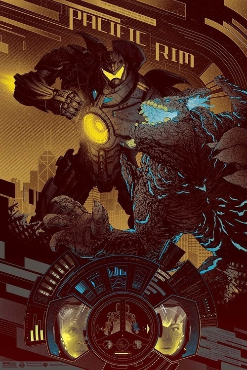 Gypsy Danger Gold #jaeger #gypsy #kaiju #rim #illustration #poster #monster #movies #danger #pacific #typography
