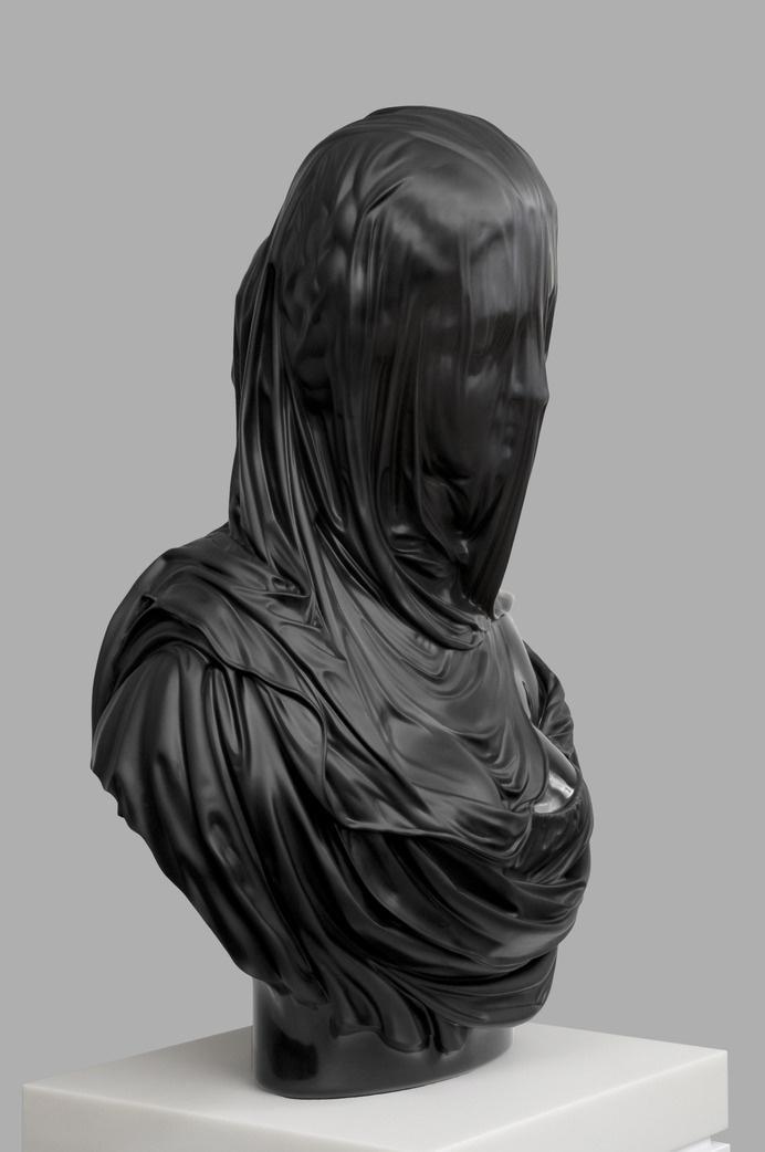 Barry xball sculpture #sculpture #head #black #draped #bust #statue #art #covered