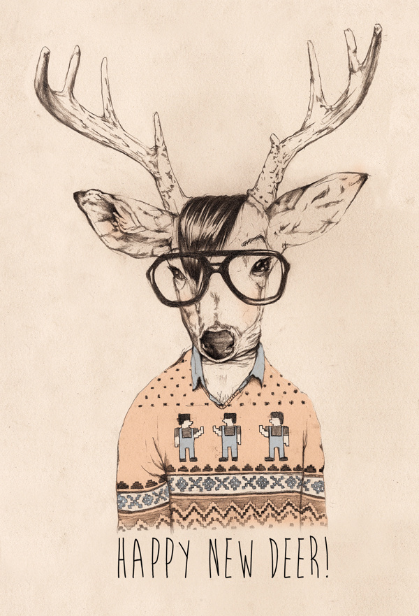 Hipster Opposite Day On Behance Christmas Illustration Deer Sweater