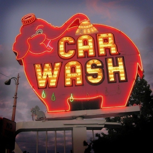 hey wow this is cool #pink #retro #elephant #wash #signage #car #neon