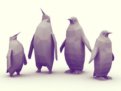 Penguins #illustration #low #penguins #poly