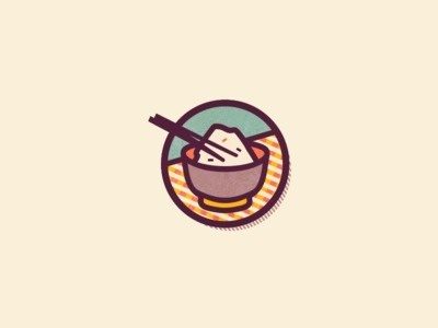 Food icons by Szende Brassai #rice #icon #round #design #graphic #japanese #food #illustration #sticker