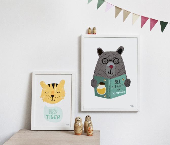 #nordic #design #graphic #illustration #danish#simple #nordicliving #living #interior #kids #room #poster #bear #teddy #bee #study