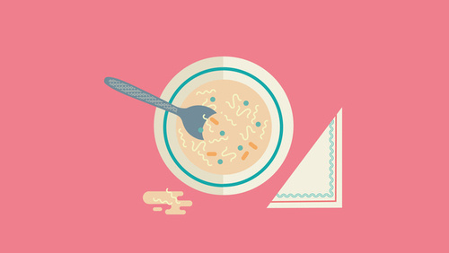 The Design Blog #vector #soup #pink #spoon #noodles #design #bowl #illustration #napkin #circle