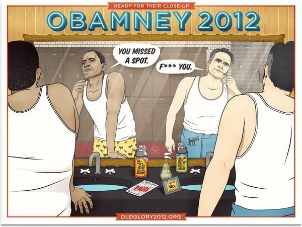 Old Glory 2012 #romney #comic #shaving #illustration #poster #obama