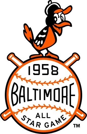 MLB All Star Game Primary Logo (1958) 1958 MLB All Star Game at Memorial Stadium in Baltimore, Maryland #crest #sports #baseball #type #baltimore