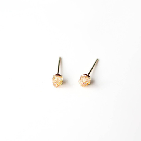 Citrine Bit Studs || 14K Gold Eearrings #crystal #pulse #earrings #design #14k #jewelry #citrine #gold #parallel