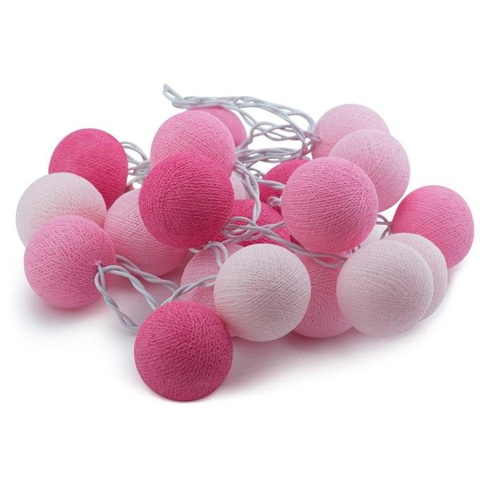 String Lights Cotton Ball Pink & Rose Quartz