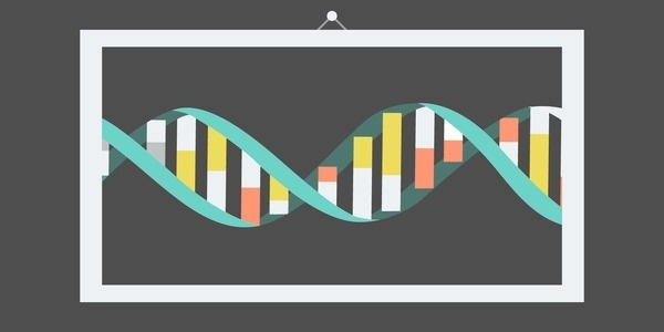 The Double Helix #illustration #poster #vector #lines #dna #flat design