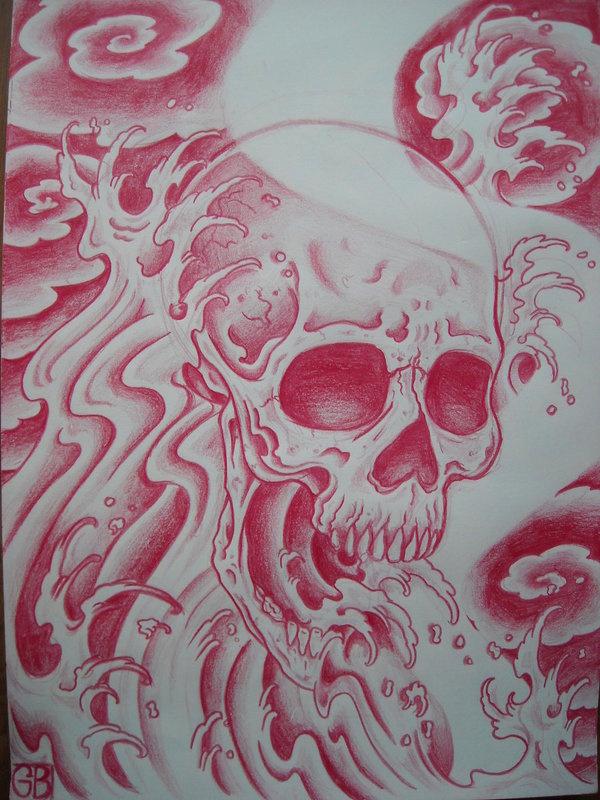 wave_skull_by_AsatorArise.jpg (900×1200) #illustration #tattoo #skull