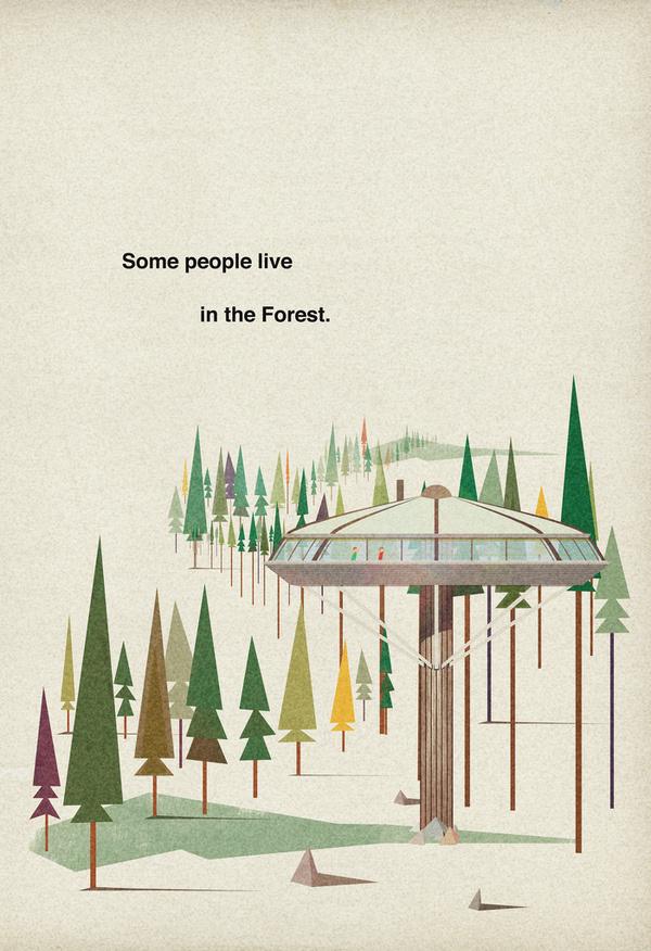 Poster #retro #illustration #architecture #vintage #poster #trees