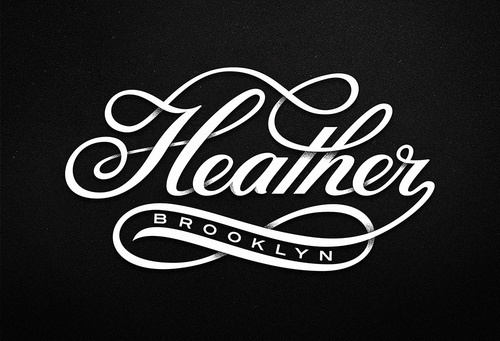 Typeverything.com Heather Brooklyn by Michael Spitz. #white #swirl #black #heather #calligraphic #brooklyn