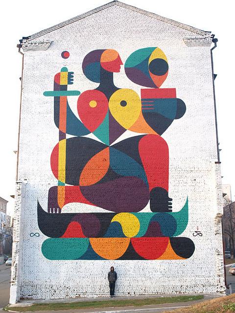 WOMAN ON BOAT Acrylic and spray on wall. ...   Street Art / Graf... #geometric