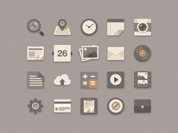 Flat Icons Brownie Theme #iconography #apps #interface #icons #illustration