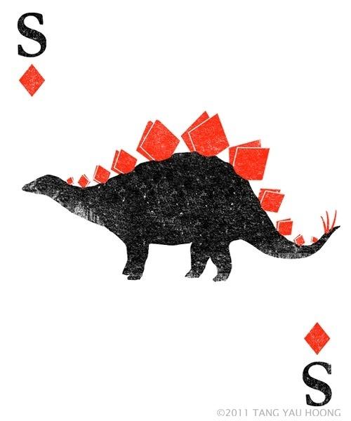 Stegosaurus of Diamonds #card #illustration #playing #tangyauhoong
