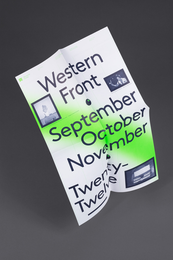 The 2012 edition of Western Front's events calendars. Distributed at locations throughout Vancouver and mailed to members, it features the