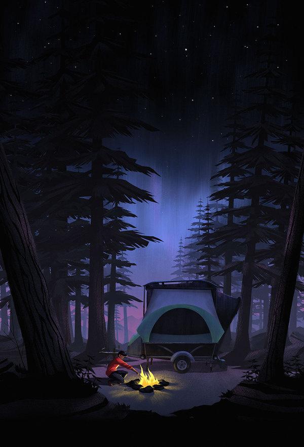 Camper Illustration #night #illustration #fire #camping