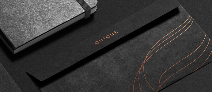 QUIQUE cosmetics copper black dark gold golden logo logotype branding corporate design identity business card print letter letterheadmoder