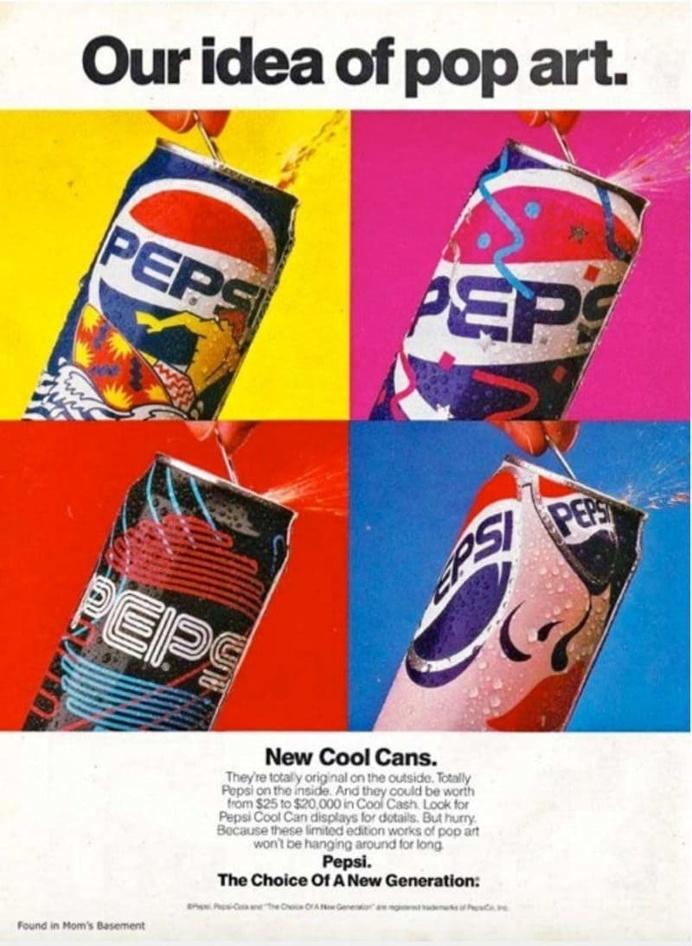 Vintage Pepsi Advertisement - Our Idea of Pop Art Pepsi Cool Can