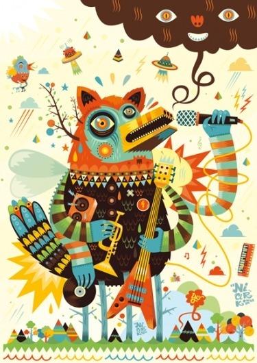 Music - Niark 1 - Portfolio - Lezilus, Agence d'illustrateurs et de graphistes internationaux à Paris - Michel Lagarde, Nicolas Pitzalis #guitar #print #illustration #poster #music #animal