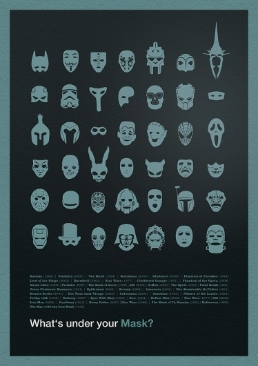 What's under your Mask? on the Behance Network #icons #masks #illustration #poster #movies
