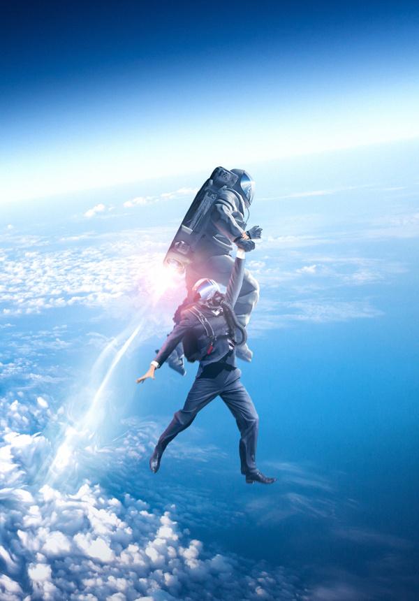 Spaceman on Behance #space #digital #illustration #jet #rocket #art #man #pack
