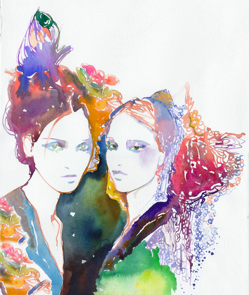 Galliano's Girls #watercolor #colors #woman #nature