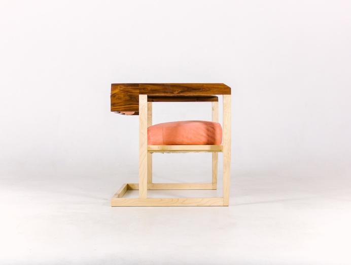 ArmChair Pink Creamson Fly Massive Millworks #fly-massive-millworks #wood #interior #armchair #modernism #furniture #maple #walnut #design
