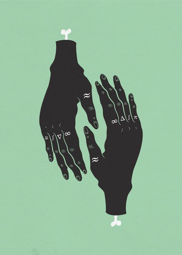 HÄNDER : Sara Andreasson #print #illustration #art #poster #album #green #tattoo #finger #hand #symmetry #black #hands