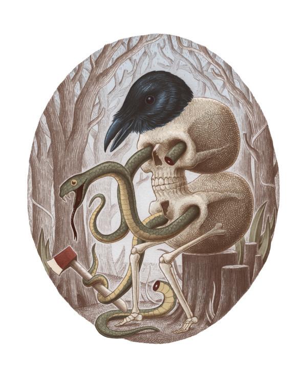 skull raven snake #skull #dark #raven #illustration