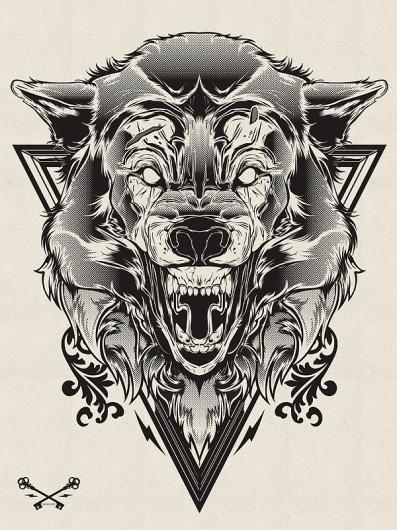 Hydro74, Halftone Print Series - Wolf & Lion   Black Pizza   Le blog pop livré à domicile. #illustration