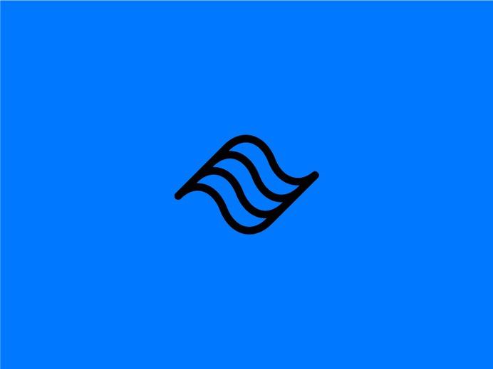 Wavy Logo fitness movement modern minimal wave mark icon logo