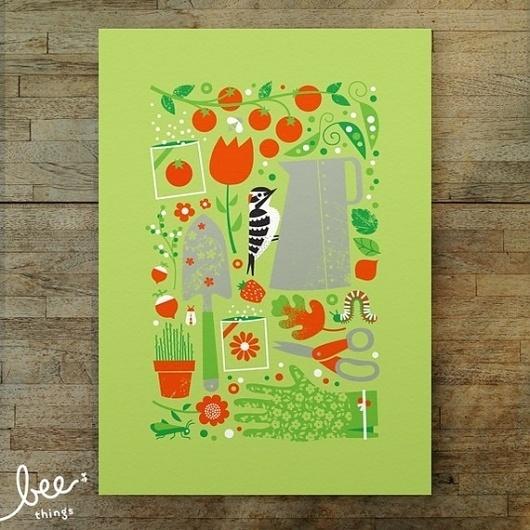 garden woodpecker limited edition print by beethings on Etsy #scissors #peas #seeds #woodpecker #garden #gloves #minimalist #tomatoes #green