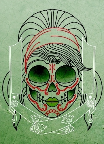 Betty Mexican Skull Tattoo by ~someofthathomegrown #skull #chick