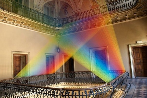 Rainbow art installation from textile from Gabriel Dawe #exhibition #textile #art #installation
