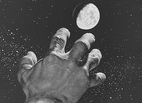 The penultimate level #universe #white #exploration #black #space #stars #reach #vintage #and #hand #planet #moon