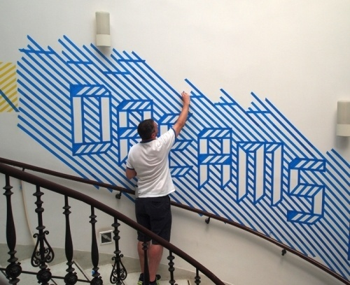 Brno Biennial Wall Installation: MacFadden and Thorpe #type #tape #cool