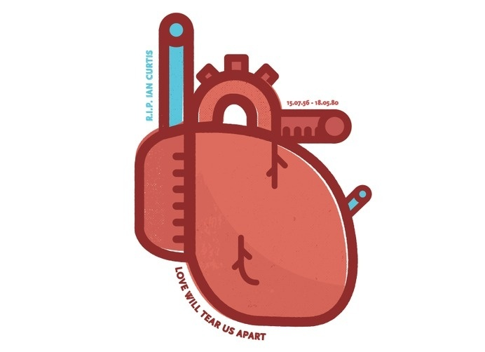 Lucas Jubb Illustration for Ian Curtis Control #heart #offset #illustrator #print #jubb #illustration #joy #division #lucas