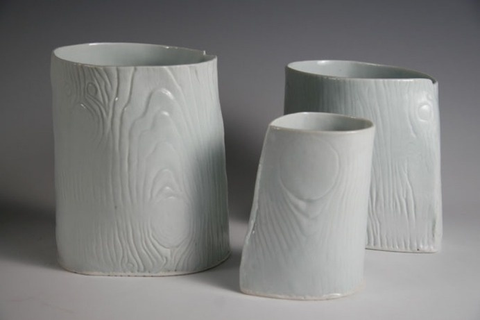 Jill Birschbach : Wood Grain Porcelain Vases #wood #grain