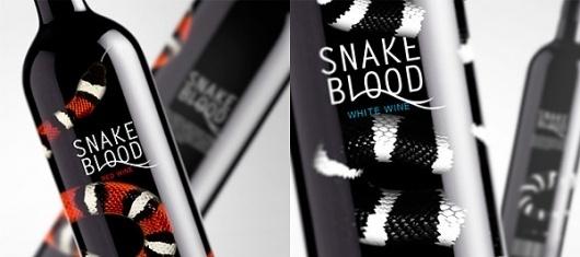 Wine set on the Behance Network #blood #snake